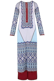 Aqua Blue Digital Print Kurta Set With Palazzo Pants