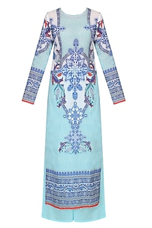 Aqua Blue Digital Print Kurta Set With Sky Blue Palazzo Pants