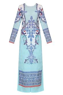 Aqua Blue Digital Print Kurta Set With Sky Blue Palazzo Pants by Rajdeep Ranawat