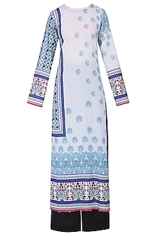 Ivory Lotus Print Kurta Set With Palazzo Pants