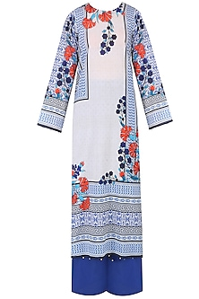 Ivory And Red Floral Printed Kurta Set With Palazzo Pants
