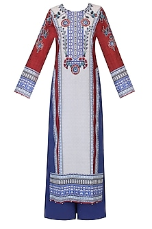 Blue And Red Floral Printed Kurta Set With Palazzo Pants