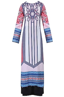 Ivory Floral Printed Striped Kurta Set With Palazzo Pants