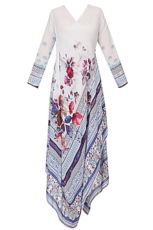 Ivory And Burgundy Floral Printed Asymmetric Kurta