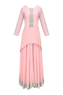 Nude Pink Pearl Embroidered High Low Kurta and Skirt Set