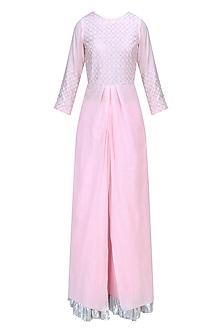 Powder Pink and Silver Work Kurta and Skirt Set