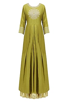 Olive Green Thread Embroidered Kurta and Skirt Set