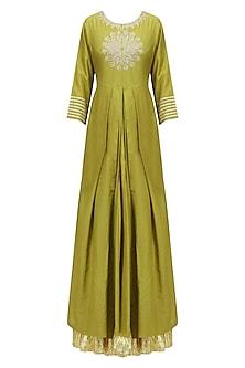 Olive Green Thread Embroidered Kurta and Skirt Set
