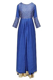Cobalt Blue and Gold Work Kurta and Skirt Set