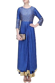 Cobalt Blue and Gold Work Kurta and Skirt Set by RAJH By Bani & Sheena