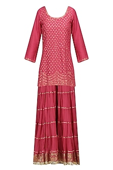 Red Floral Embroidered Short Kurta and Skirt Set