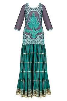 Charcoal Grey and Blue Floral Embroidered Short Kurta and Skirt Set