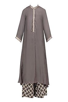Charcoal Asymmetrical Long Kurta and Skirt Set