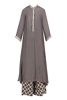 Charcoal Asymmetrical Long Kurta and Skirt Set by RAJH By Bani & Sheena