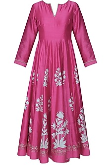Fuschia pink block printed anarkali with golden gota striped dupatta and palazzo pants