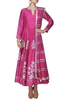 Fuschia pink block printed anarkali with golden gota striped dupatta and palazzo pants by RAJH By Bani & Sheena