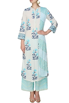 Ivory A line kurta with blue modal straight pants by RAJH By Bani & Sheena