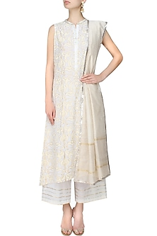 White A line hand block printed kurta with white pants and printed dupatta by RAJH By Bani & Sheena