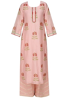 Light pink A line lotus motifs kurta with light pink straight pants and printed dupatta