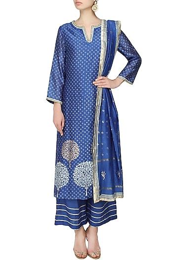 Blue A line kurta with straight pants and mokaish dupatta by RAJH By Bani & Sheena