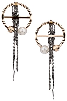 Rose Gold Pearl Embellished Earrings by Rejuvenate Jewels