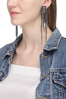 Grey Silver Chain Hanging Earrings