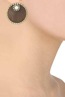 Brown Wooden Pearl Embellished Studs