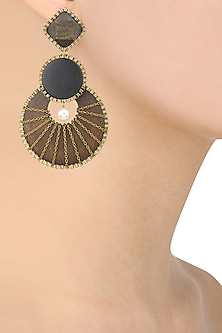 Brown and Black Wooden Geometric Shape Earrings