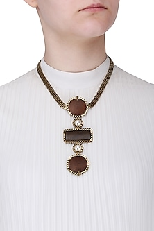 Gold Finish Brown Wooden Pendant Necklace by Rejuvenate Jewels