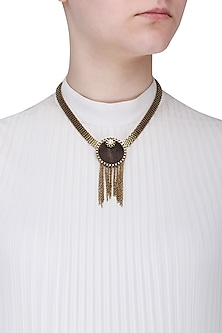 Gold Finish Round Brown Wooden Tassel Pendant Necklace