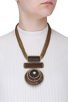 Gold Finish Brown and Black Wooden Pendant Necklace
