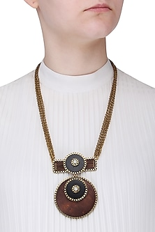 Gold Finish Brown and Black Wooden Round Pendant Necklace by Rejuvenate Jewels