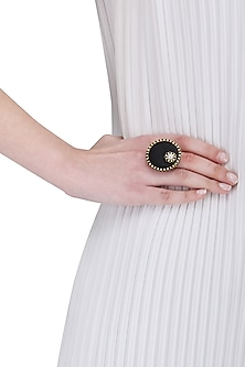 Black Wooden and Pearl Round Ring