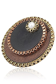 Black and Brown Wooden Round Ring by Rejuvenate Jewels