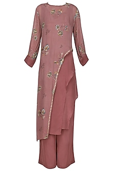 Dusty Pink Floral Print Embellished Asymmetrical Tunic with Pants