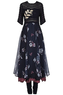 Navy Blue Floral Print Embellished Anarkali Set