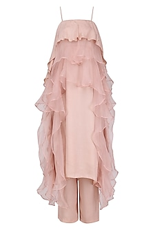 Rose Pink Ruffles Embellished Tunic with Pants