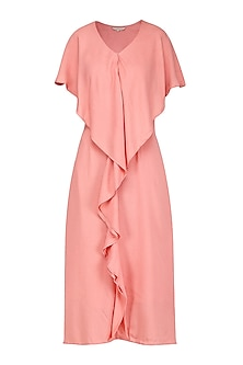 Peach Ruffled Midi Dress