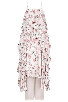 Off White Floral Print Ruffled Tunic with Pants