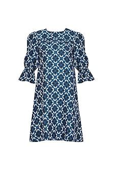 Blue Geometric Print Embellished Dress