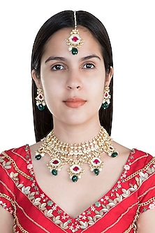 22Kt Gold Plated Emerald & Pink Stone Necklace Set by Riana Jewellery