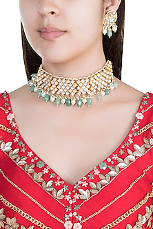 22Kt Gold Plated Jade Stone & Pearl Necklace Set by Riana Jewellery