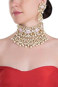 Gold plated white and pink meena necklace set by RIANA JEWELLERY