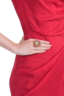 Gold plated pink and green floral ring by RIANA JEWELLERY