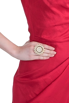 Gold plated jadtar floral pearl ring