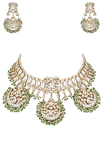 Gold plated fan shaped necklace set by RIANA JEWELLERY