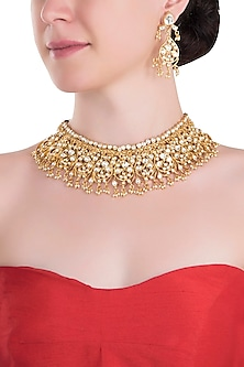 Gold plated oval motive necklace set by RIANA JEWELLERY