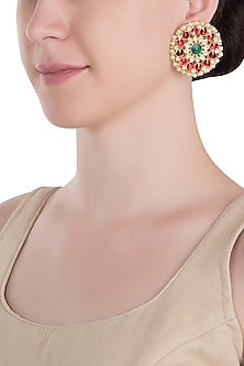 Gold plated red stud earrings