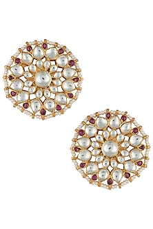 Gold plated pink and white stud earrings by RIANA JEWELLERY