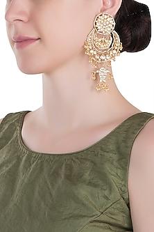 Gold plated white chandbali earrings